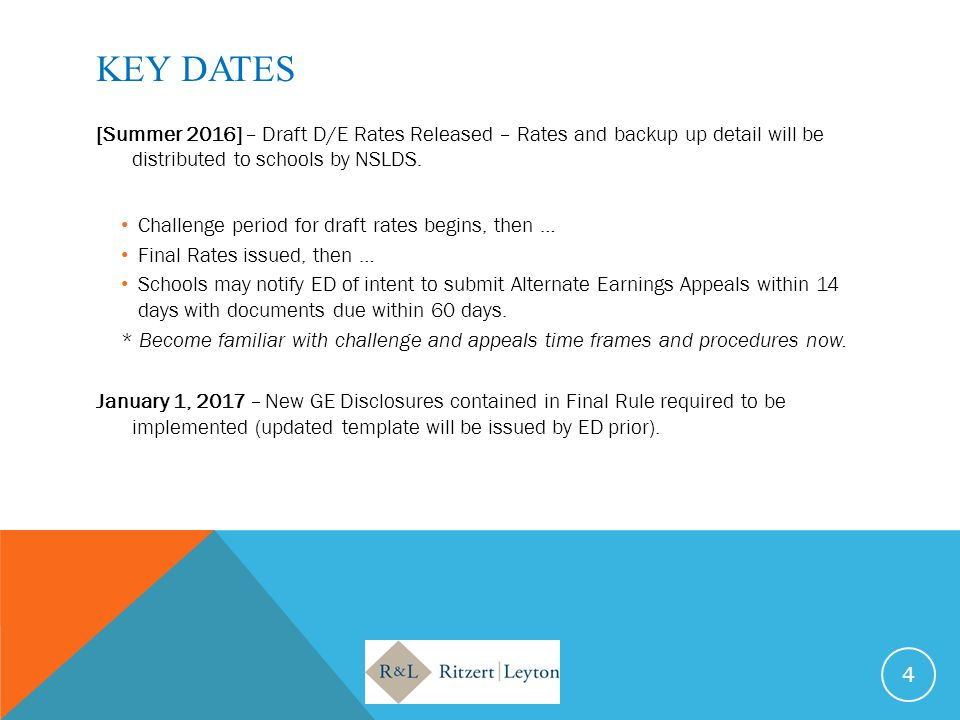 KEY DATES [Summer 2016] – Draft D/E Rates Released – Rates and backup up detail will be distributed to schools by NSLDS.